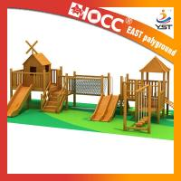 Buy cheap Funny Outdoor Wooden Play Structures , Wooden Climbing Frame With Slide product