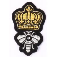 Silver Bee Embroidered Blazer Badges Gold Crown Sew On Embroidered Patches