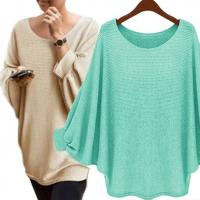 Buy cheap Solid Color Batwing Sleeve Jumper High Low Pullover Sweater Casual Clothes product