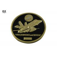 China Plane Design Custom Challenge Coins With Black Soft Enamel Fill on sale
