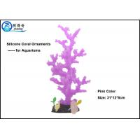 China  Purple Decorative Aquarium Tank Decorations With Silicone Corals And Resin Base  for sale