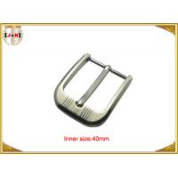 Buy cheap Customized Silver Plated Zinc Alloy Metal Pin Belt Buckle With Emboss Logo from wholesalers