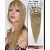 China Natural 24 Inch Remy / Virgin Clip In Hair Extension Double Weft Human Hair on sale