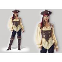 L'adulte 1024 rustique de Madame Halloween de pirate costume la couleur mélangée rouge jaune de Brown