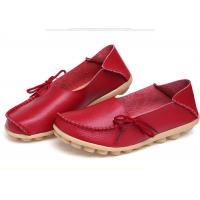 China Womens Casual Leather Shoes Moc Toe Stylish With Soft Flat Outsole Women Footwear on sale