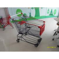 China 150L Wire Mesh Supermarket Trolley Carts With Red Baby Seat And Plastic Parts wholesale