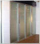 Buy cheap Aluminum Frame Frosted Glass Bi Fold Wardrobe Doors, Bi Folding Sliding Door For Closet product