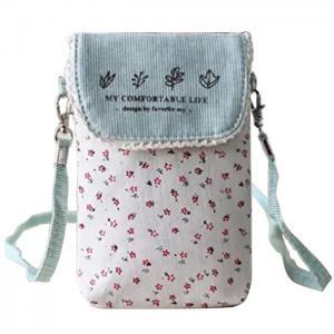 China Custom Cute fresh floral cotton mini crossbody cell phone purse bag for women on sale