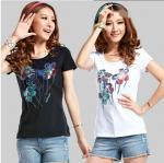 CUSTOM LOGO women 150g short sleeve T SHIRT transfer sublimation 100%COTTON T-shirt