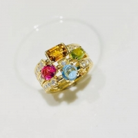 Buy cheap Natural colored gemstone ring Private custom jewelry real 18k gold Allegra Three Rings product