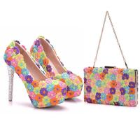 Buy cheap 2018 Custom Fashion The Same Style Lace Colorful Flowers Sexy High Heels Shoes and Bag for Evening party product