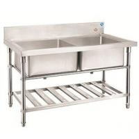 Buy cheap Hotel commercial kitchenware / stainless steel double rinse table with drainer product