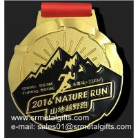 China Gold 10K Running Medal With Color Filled, gold metal medal with enamel wholesale