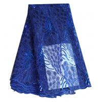 China Fashion bridal cord tulle lace royal blue polyester net lace fabric with sequins wholesale