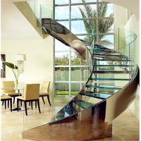 China Customized tempered glass panel treads glass curved stairs price on sale