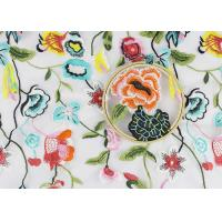 Buy cheap Beautiful Flower Embroidered Net Lace Fabric , 3d Flower Lace Fabric 100% Polyester product