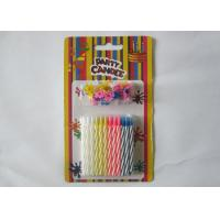 China Multi - Colored Decorative Spiral Taper Striped Birthday Candles With 24 Pcs/Set wholesale