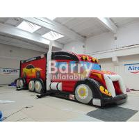 China Outdoor Giant Attractive Red Inflatable Fire Truck Bouncy Obstacle Course wholesale