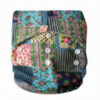 China Reusable One-size Pocket Cloth Diaper with 100% Cotton Printed PUL Outer Fabric  on sale