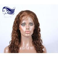 China Natural Real Human Hair Full Lace Wigs Light Brown With 7A Grade on sale