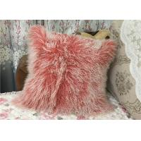 Buy cheap Mongolian Fur PIllow Home Decor  Genuine Mongolian Tibetan Sheepskin Lamb Wool Pink Throw Pillow product