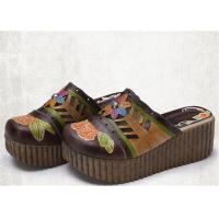 Buy cheap High Platform Slip On Sandals , Leather Slide Sandals Artistic Pattern Painted / Carved product