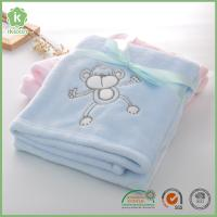 China Fashion Animal Embroidery Super Soft Blue Flannel Baby Blanket on sale