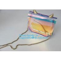 China PVC shoulder bag/transparent tote bag, Clear PVC Tote Bag Beach Bag, pvc shoulder bag with golden chain, clutch, packs on sale