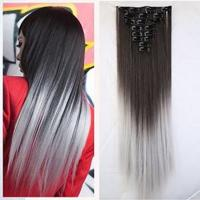 China 7 pcs per set grey remy brazilian human hair good quality clip in hair extensions on sale