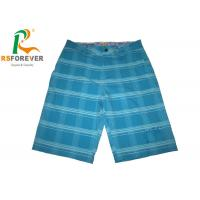 China Extra Long  Blue Printed Board Shorts For Men Gridding Simple Style Customized Size on sale