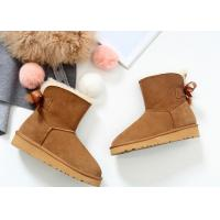 Buy cheap Comfortable / Warm Ankle Length Boots Anti Slip Ladies Sheepskin Boots With Wool Lining product