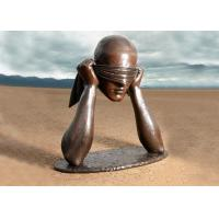 Buy cheap Contemporary Art Work Bronze Statue Blindfolded Man Head Shape Anti Corrosion product