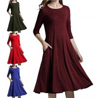 China Round Collar Mid Sleeve Solid Color Dress Ladies Skirt Clothes For Autumn Spring on sale