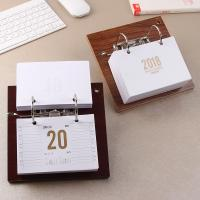365 Inner Sheets Wooden Desktop Calendar , Custom Daily Desk Calendar 2 Rings Binding