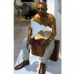 Buy cheap Interior Landscape Design Life Size Bronze Sitting Man Sculpture product