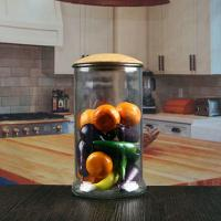 China 1200 ml cheap sealed straight kitchen glass jars with wood lid wholesale on sale