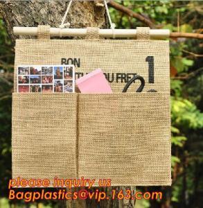 Buy cheap manufacturer Natural Jute canvas fabric wall hanging storage organizer carriage bag,Wall hanging pocket storage organize product