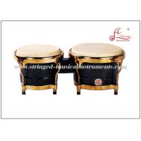 Buy cheap Black Percussion Musical Instruments Wooden Bongo Drum With Gold Plated Hardware product