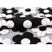 Buy cheap Customization Embroidery PU Mesh Lace Fabric With Black And White Flower product