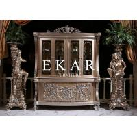 Buy cheap Living Room Antique Wood Furniture Glass Cabinet 4 Doors Golden Color LS-A104S product