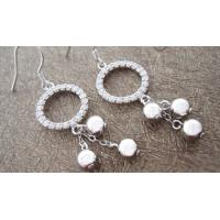 Buy cheap Rhodium plating large silver gemstone hoop earrings with zircon for girls product