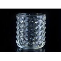 Buy cheap Soda Lime glass cylinder candle holders for decor , Exquisite diamond design product
