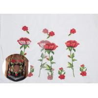 China Polyester Embroideried Mesh Rose Lace Fabric , Floral Lace Netting Fabric OEM Service on sale
