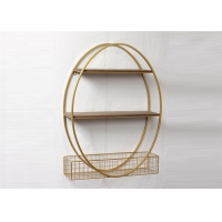 Quality Gold Metal Framed Metal And Wood Display Shelves for sale