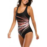 Buy cheap U Neck Sports Womens Swimming Suits Wide Shoulder Straps Unique Lines Printing from wholesalers