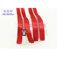 Buy cheap High End High Polished Metal Separating Zipper Red Tape Customized For Coveralls product