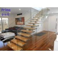 Buy cheap interior wooden staircase design with frameless glass railing product