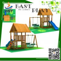 Buy cheap CE Certificated Wooden Playground Equipment , Wooden Swing And Slide Set product