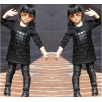 Buy cheap Knit Black Winter Party Dresses For Girls , 7 To 8 Years Girl Dress Pu Leather Front product