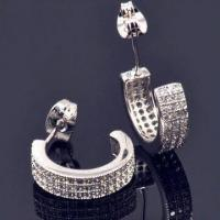 Buy cheap Stylish Silver Hoop Earrings, Green Product, Rhodium Plating, Wholesale Factory Price, High Quality product